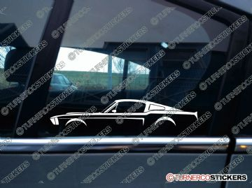 2x Car Silhouette sticker - Ford Mustang Fastback 1967 classic car